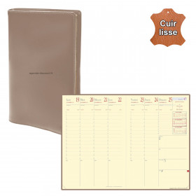 Agenda QUOVADIS MINISTRE Prestige cuir vachette lisse Luna taupe 16x24cm - 1 semaine sur 2 pages