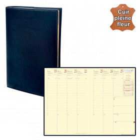 Agenda QUOVADIS MINISTRE Prestige cuir pleine fleur Montebello bleu marine 16x24cm - 1 semaine sur 2 pages
