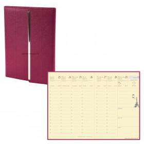 Agenda QUOVADIS RANDONNEE PRESTIGE VENEZIA - 9x12cm - FUCHSIA - 1 semaine sur 2 pages