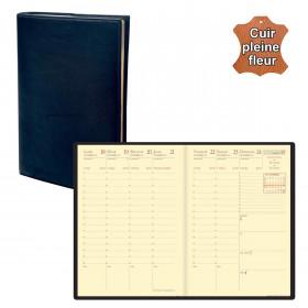 Agenda de poche QUOVADIS AFFAIRES Prestige cuir pleine fleur Montebello bleu marine 10x15cm - 1 semaine sur 2 pages