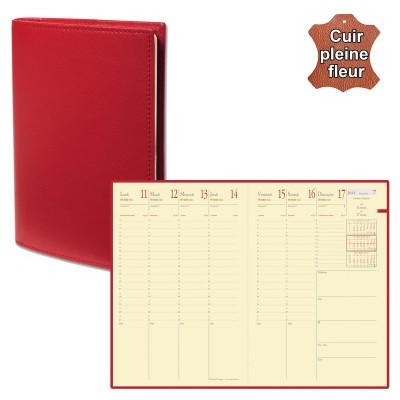 Agenda QUOVADIS MINISTRE Prestige avec répertoire couverture Montebello rouge 16x24cm - 1 semaine sur 2 pages