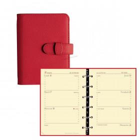 Agenda organiseur QUOVADIS - TIMER 14 horizontal couverture Club rouge cerise - 8x12,5cm