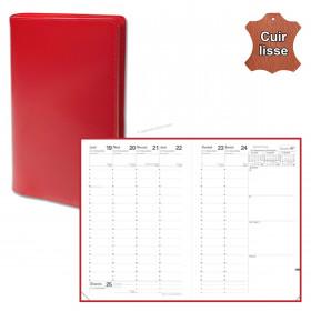 Agenda QUOVADIS MINISTRE cuir vachette lisse Luna rouge dali 16x24cm - 1 semaine sur 2 pages