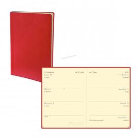 Agenda QUOVADIS MINIWEEK - 7x10cm - 1 semaine sur 2 pages couverture TOSCANA ROUGE COQUELICOT