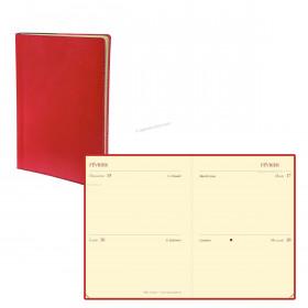 Agenda QUOVADIS MINI 2 DAYS - 7x10cm - 2 jours par page couverture TOSCANA ROUGE COQUELICOT