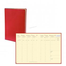 Agenda QUOVADIS CARLA PREST - 8x10,5cm - 1 semaine sur 2 pages couverture TOSCANA ROUGE COQUELICOT