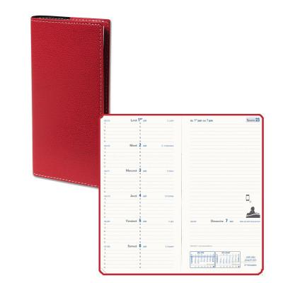 Agenda de poche QUOVADIS ITALNOTE B avec répertoire couverture Club rouge cerise 8,8x17cm - 1 semaine sur 2 pages