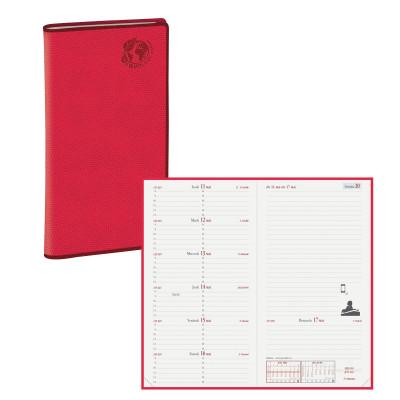 Agenda QUOVADIS ITALNOTE Recyclé rouge cerise - 8,8x17cm - 1 semaine sur 2 pages