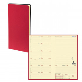 Agenda QUOVADIS ITALNOTE - 8,8x17cm - 1 semaine sur 1 page + NOTES TOSCANA ROUGE COQUELICOT
