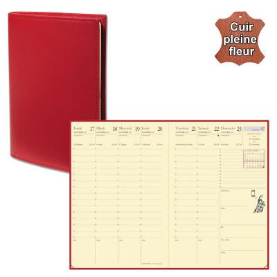 Agenda de poche QUOVADIS AFFAIRES Prestige avec répertoire couverture Montebello rouge 10x15cm - 1 semaine sur 2 pages