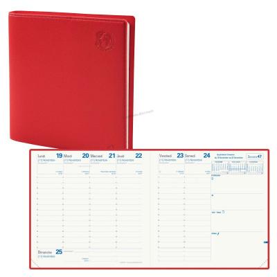 Agenda QUOVADIS EXECUTIF Recyclé rouge cerise - 16x16cm - 1 semaine sur 2 pages