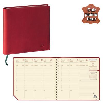Agenda QUOVADIS EXECUTIF Prestige S avec répertoire couverture Montebello rouge 16x16cm - 1 semaine sur 2 pages