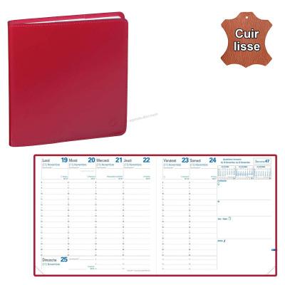 Agenda QUOVADIS EXECUTIF avec répertoire avec tranche dorée couverture Luna rouge dali 16x16cm - 1 semaine sur 2 pages