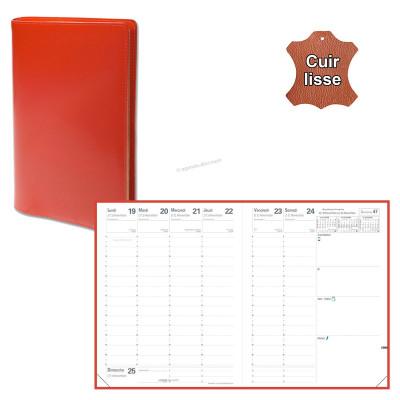 Agenda QUOVADIS PRESIDENT avec répertoire avec tranche dorée couverture Luna rouge dali 21x27cm - 1 semaine sur 2 pages