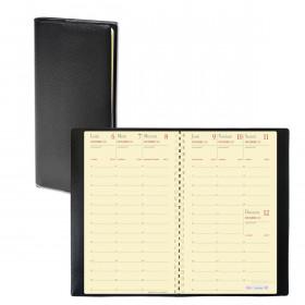 Agenda QUOVADIS PLANNING 16 S à spirale - Impala noir - 9x16cm - 1 semaine sur 2 pages + répertoire