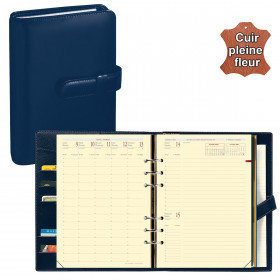 Agenda organiseur QUOVADIS - TIMER 21 prestige cuir pleine fleur Montebello bleu marine - 15x21cm