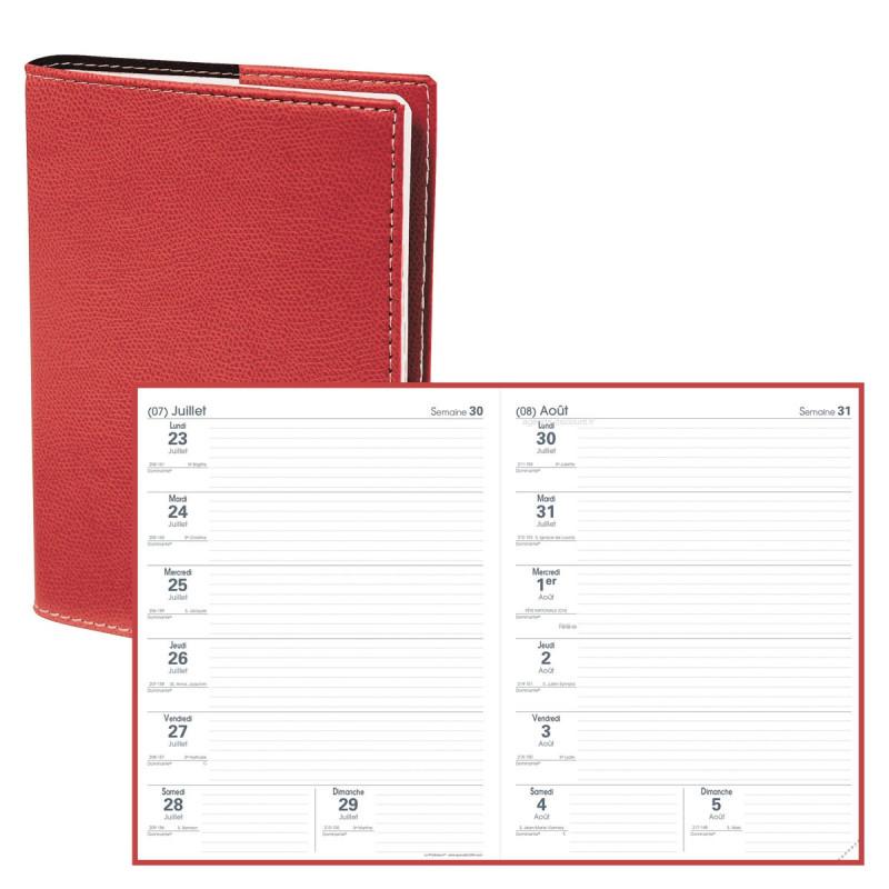 Agenda QUOVADIS LE PROFESSEUR Club - Rouge Cerise - 21x27cm - 2 semaines sur 2 pages