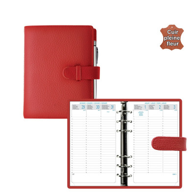 Agenda organiseur EXACOMPTA Exatime 17 Cali vachette pleine fleur rouge - 190 x 150 mm