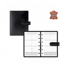 Agenda organiseur EXACOMPTA Exatime 14 cuir Napoli noir - 140 x 100 mm