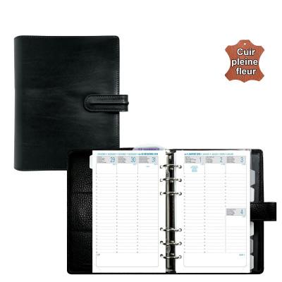 Agenda organiseur EXACOMPTA Exatime 17 cuir Napoli noir - 190 x 150 mm