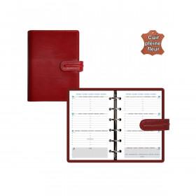 Agenda organiseur EXACOMPTA Exatime 14 cuir Napoli rouge - 140 x 100 mm