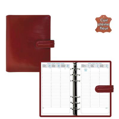 Agenda organiseur EXACOMPTA Exatime 17 cuir Napoli rouge - 190 x 150 mm