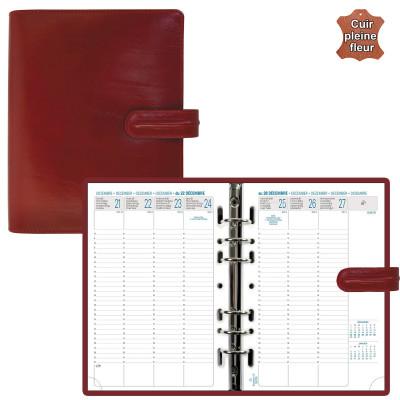 Agenda organiseur EXACOMPTA Exatime 21 cuir Napoli rouge - 230 x 190 mm