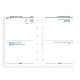 Recharge (VERSION ANGLAISE) agenda FILOFAX organiseur POCKET - 2 jours par page - 81x120mm