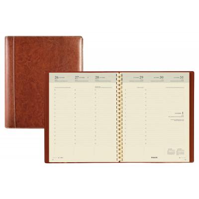 Agenda BREPOLS Timing - 17,2x22cm - 1 semaine sur 2 pages couverture brun Palermo
