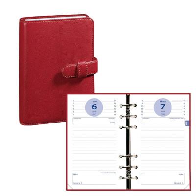 Agenda organiseur QUOVADIS - TIMER 17 1 Jour par page couverture Club rouge cerise - 10x17cm