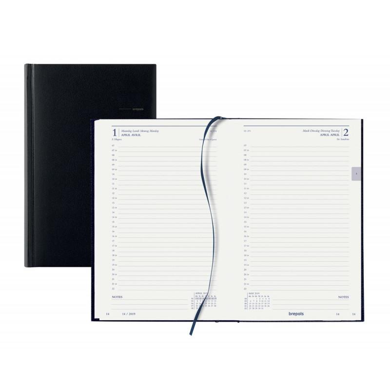 Agenda BREPOLS format carré 13.3 x 20.8 cm - Règlure travers - Couverture noire - 1 jour par page