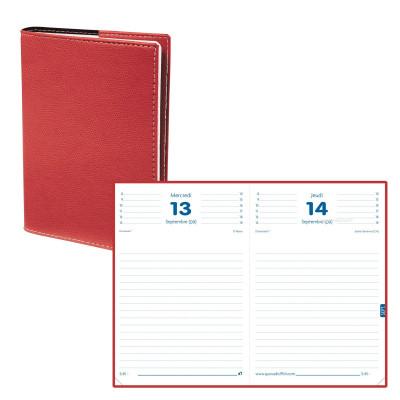 Agenda QUOVADIS TEXTAGENDA - 12x17cm  - 1 jour par page couverture CLUB ROUGE CERISE