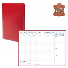 Agenda de poche QUOVADIS AFFAIRES cuir vachette lisse Luna rouge dali 10x15cm - 1 semaine sur 2 pages