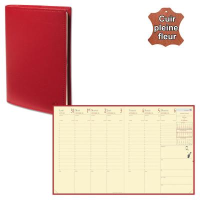 Agenda QUOVADIS PRESIDENT Prestige avec répertoire couverture Montebello rouge 21x27cm - 1 semaine sur 2 pages
