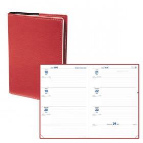 Agenda semainier QUOVADIS Texthebdo 16 x 24 cm - 1 semaine sur 2 pages couverture Club rouge cerise