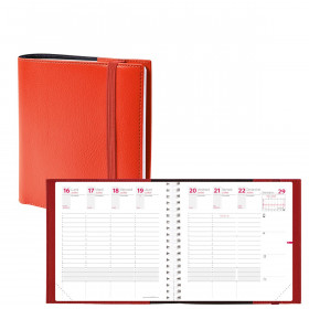 Agenda QUOVADIS TIME&LIFE MEDIUM rouge cerise Septembre - 16x16cm - 1 semaine sur 2 pages