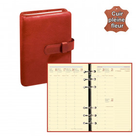 Agenda organiseur QUOVADIS - TIMER 17 Prestige cuir pleine fleur Montebello rouge - 10x17cm