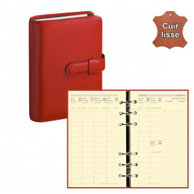 Agenda organiseur QUOVADIS - TIMER 17 Prestige cuir vachette lisse Luna rouge dali - 10x17cm
