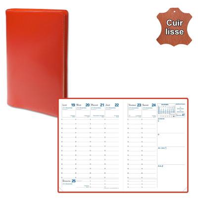 Agenda de poche QUOVADIS RANDONNEE avec répertoire avec tranche dorée couverture Luna rouge dali 9x12,5cm - 1 semaine sur 2 page