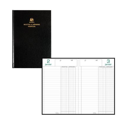 Agenda EXACOMPTA carré recettes-dépenses perpétuel noir - 210 x 135 mm