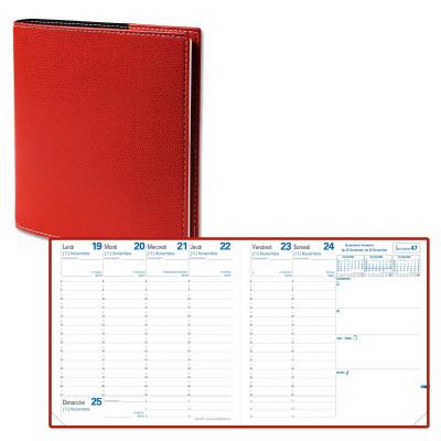 Agenda QUOVADIS EXECUTIF avec répertoire couverture Club rouge cerise 16x16cm - 1 semaine sur 2 pages