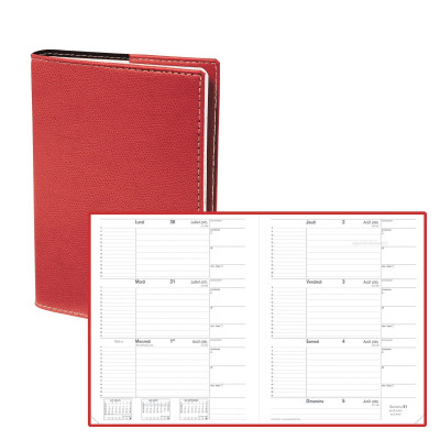 Agenda QUOVADIS Le principal 18 x 24 cm - 1 semaine sur 2 pages couverture Club Rouge Cerise
