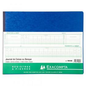 Piqûre 29,7x38cm EXACOMPTA (19610E) à tête paresseuse Journal Caisse ou Banque - 33 lignes - 80 pages