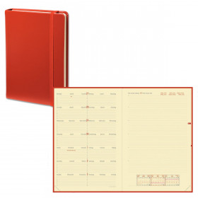 Agenda QUOVADIS NOTE 24 mutli-langues Habana rouge cerise - 16x24cm - 1 semaine sur 1 page + NOTES