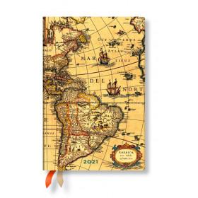 Agenda PAPERBLANKS Flexible Ancienne Cartographie Hémisphère Ouest - Mini - 95×140mm - 1 semaine sur 2 pages horizontal