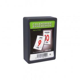 Bloc éphéméride journalier 6 x 9 cm classique sous boîtier plastique autocollant à effeuiller.
