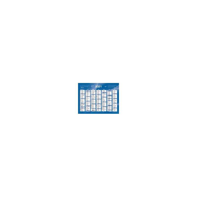 Calendrier de Banque Bleu 18x13,5cm carton rigide