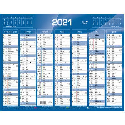Calendrier de Banque Bleu 43x33.5cm carton rigide