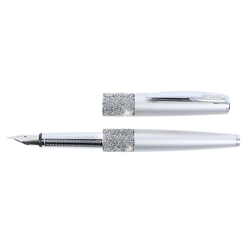 Stylo plume cristaux SWAROVSKI - argent - M (0,5 mm) - BLEU