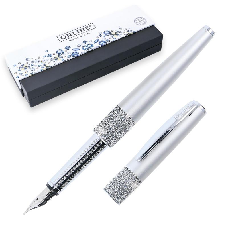 Stylo plume cristaux SWAROVSKI - argent - EF (0,1 mm) - BLEU